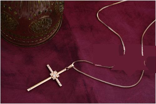 hermoso collar con cruz incrustaciones zircones