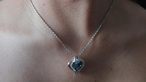 hermoso collar corazón +pendientes elementos swarovski