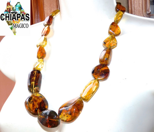 hermoso collar de plata con 23 piezas de ámbar de chiapas