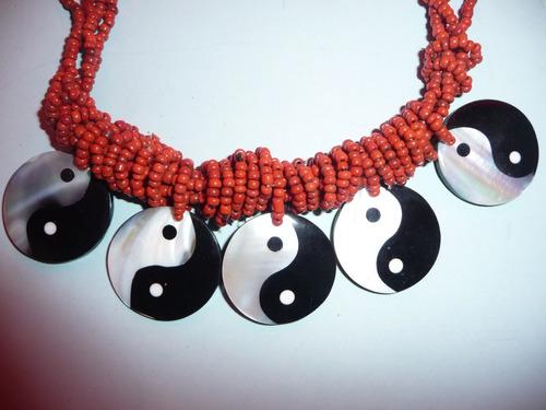 hermoso collar fantasia fina concha nacar y aretes yin yang