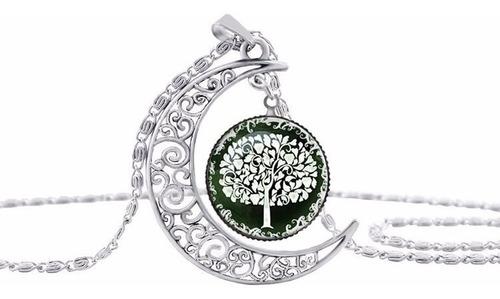 hermoso collar luna saudí, árbol, regalo, cristal + envío