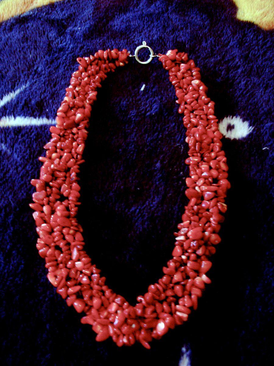 Hermoso collar rojo de piedras naturales y plata 699 for Piedras naturales