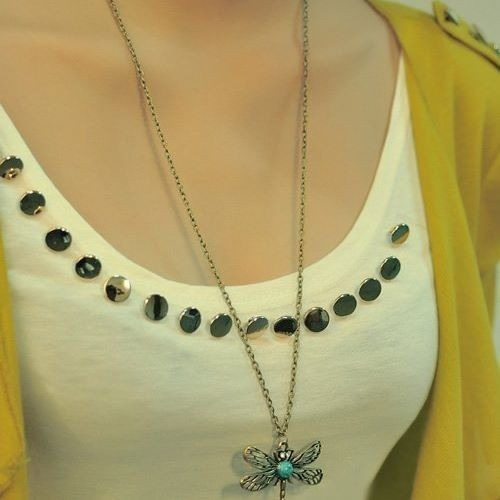 hermoso collar vintage femenino dije libelula
