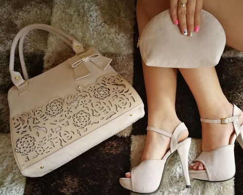 hermoso combo de plataformas+ bolso+monedero mujer dama