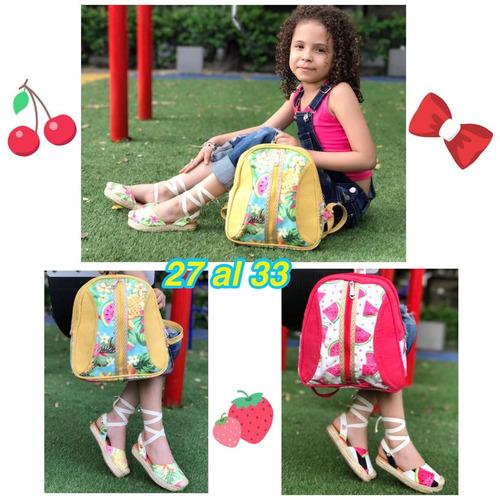 hermoso combo de sandalias y morral niñas calidad colombiana