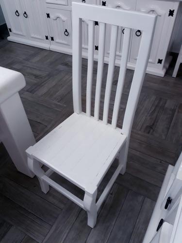 hermoso comedor blanco, en madera macizo