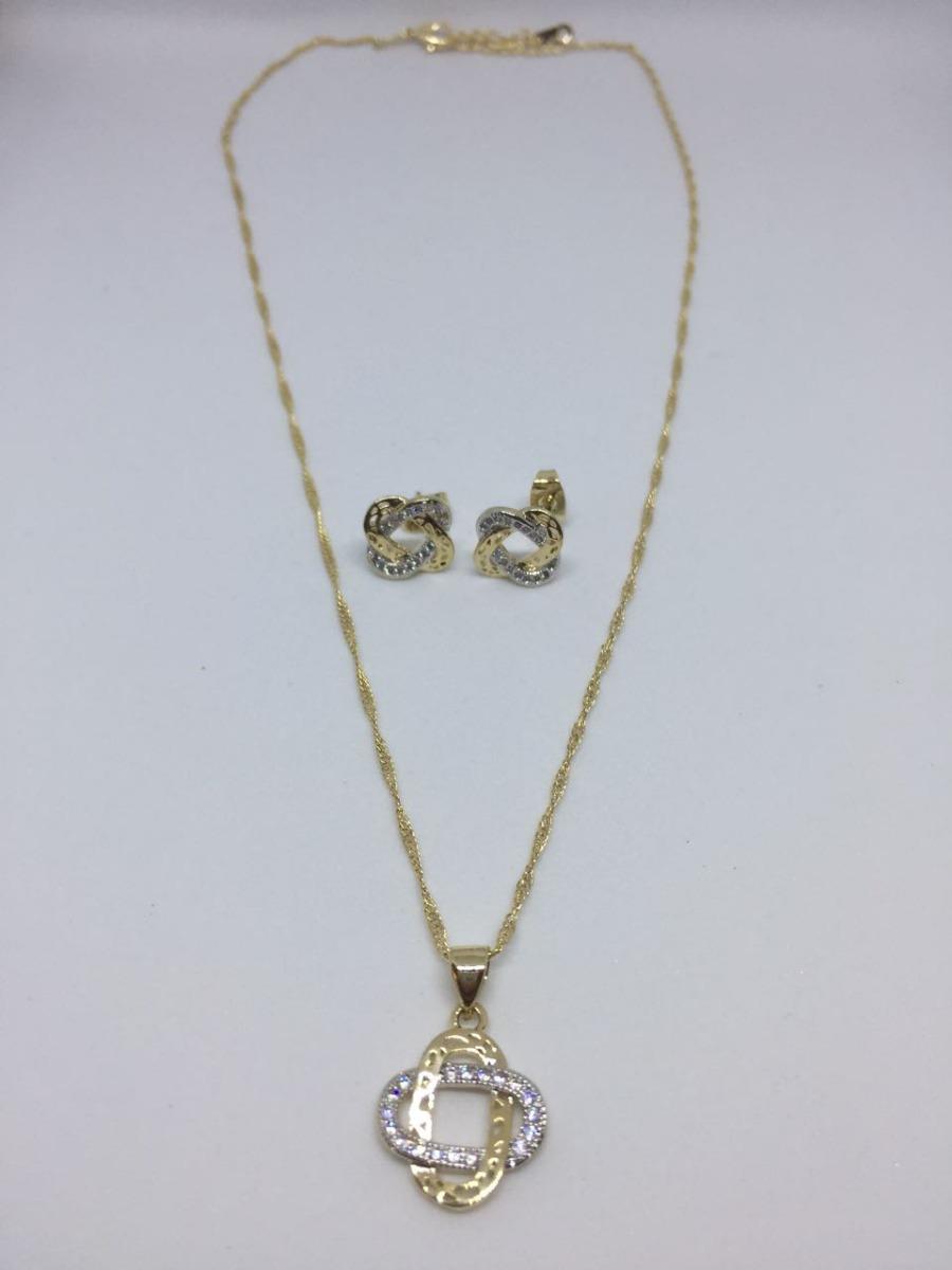 08e08cab49d5 Hermoso Conjunto Cadena Y Aretes Bañada En Oro De 18k. -   503.00 en ...