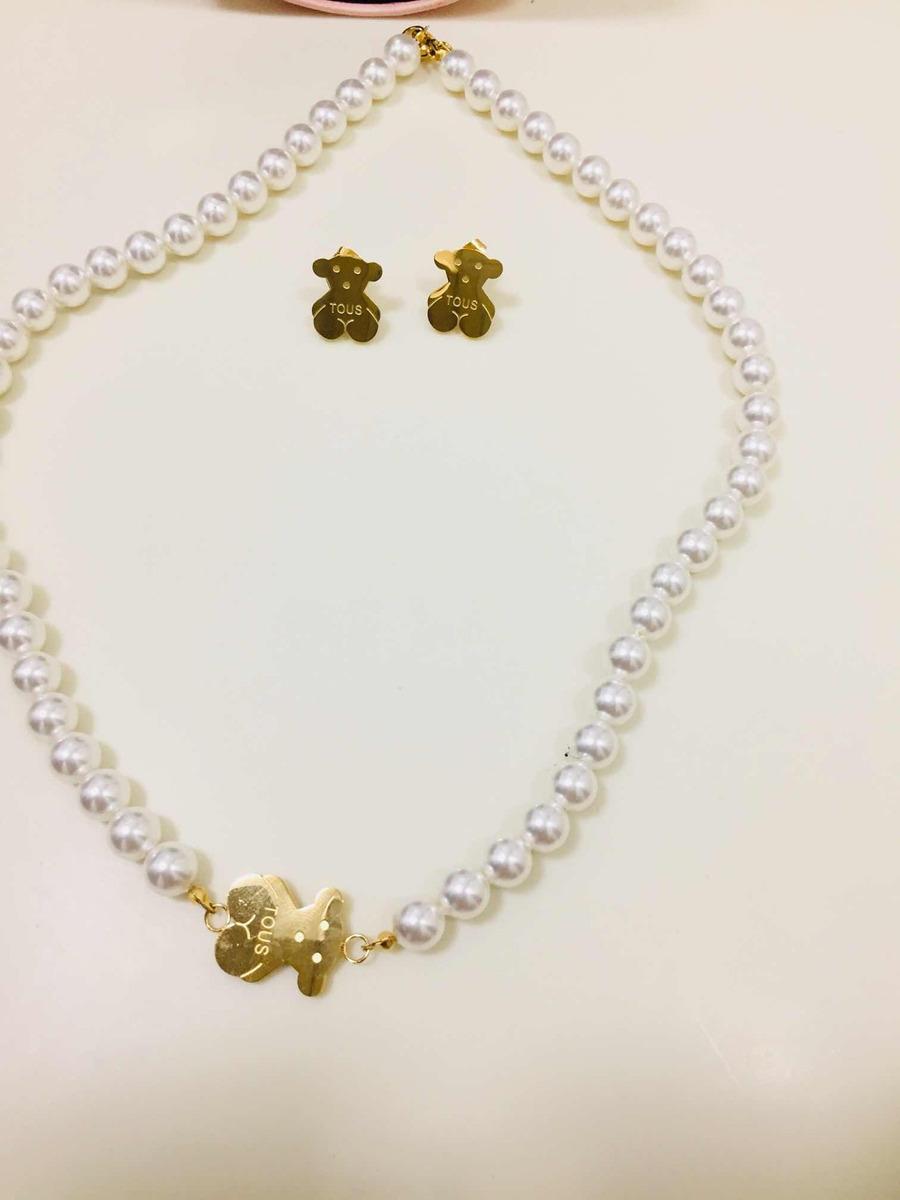 6992b11f2777 hermoso conjunto de collar con perlas oso tous. Cargando zoom.