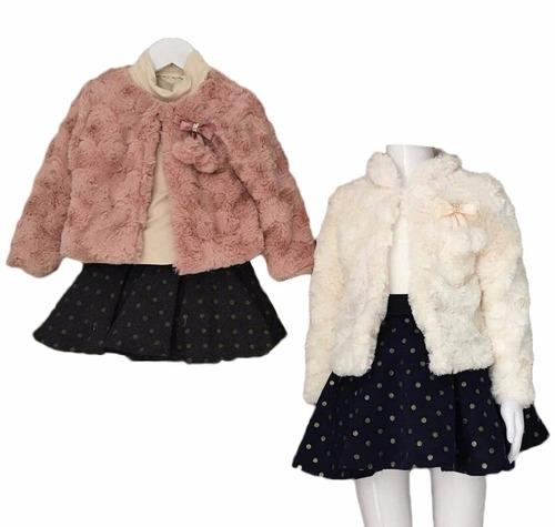 hermoso conjunto saco tipo mink blusa fald niña envío gratis