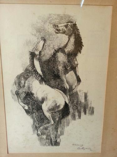 hermoso cuadro de juan carlos castagnino 99 x 76 cm caballos