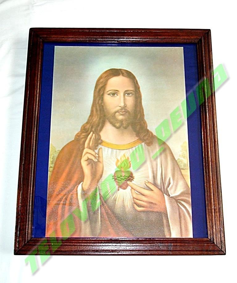Hermoso Cuadro Imagen Del Sagrado Corazon De Jesus Enmarcado - Bs ...