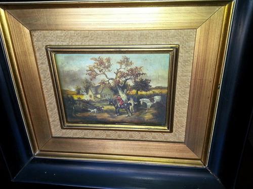 hermoso cuadro oleo pintura miniatura firmado monier miralo!