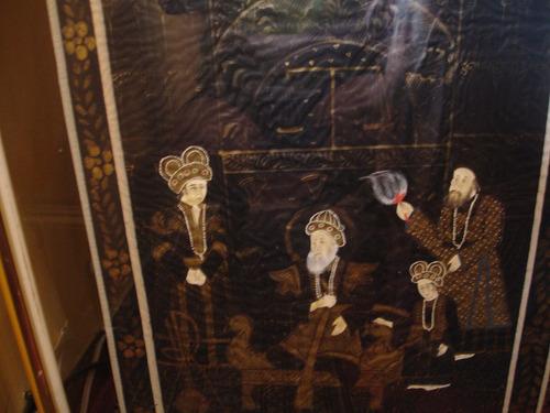 hermoso cuadro sobre seda, pintado a mano.