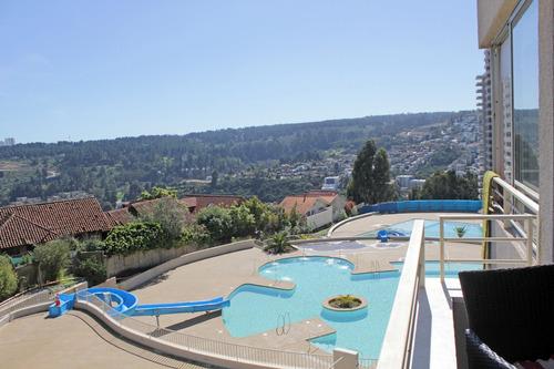 hermoso departamento en reñaca piscinas y vista al mar