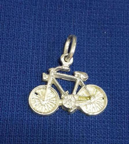 hermoso dije colgante bicicleta en plata 925  maciza