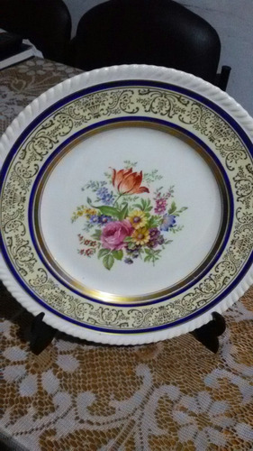 hermoso e importante plato de decoracion porcelana inglesa