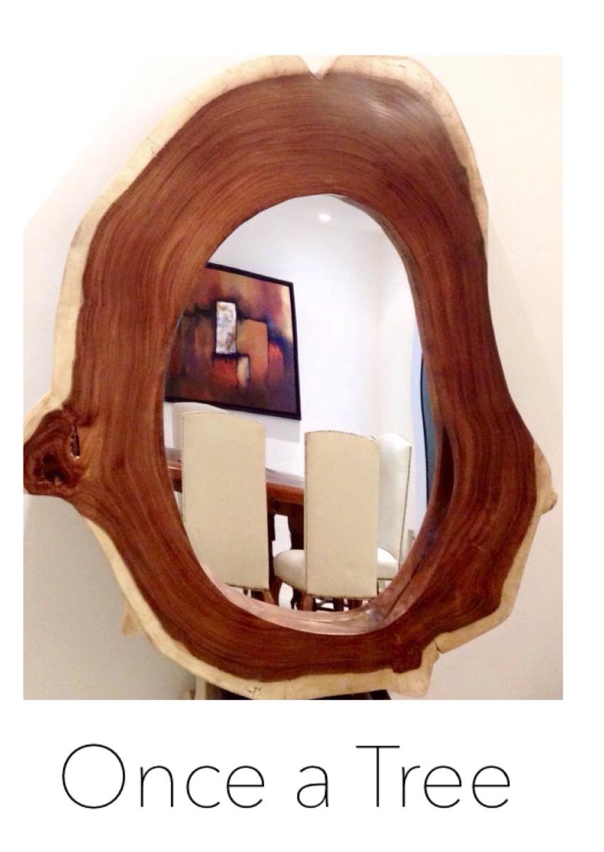 Hermoso espejo con marco de madera de parota para sala for Disenos de marcos de madera para espejos