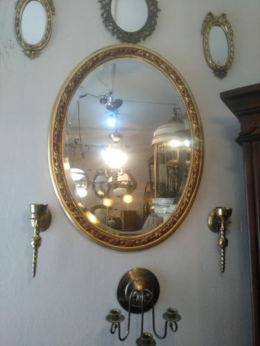 hermoso espejo ovalado antiguo
