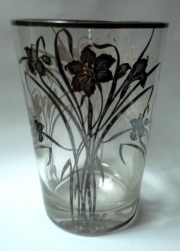 hermoso florero cristal art nouveau decorado plata esterlina