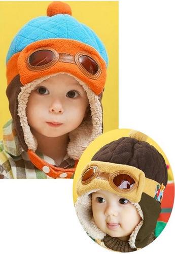hermoso gorro aviador niños bebes de lujo