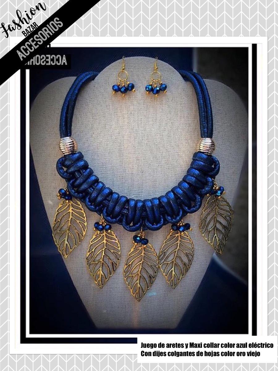551d30724 Hermoso Juego Aretes Y Maxi Collar Azul Con Dijes De Hojas - $ 335.00 en  Mercado Libre