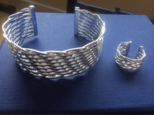 hermoso juego de braza  y anillos de plata esterlina 925