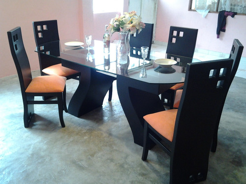 Hermoso juego de comedor con mesa de vidrio u s 520 00 for Juego comedor pequea o