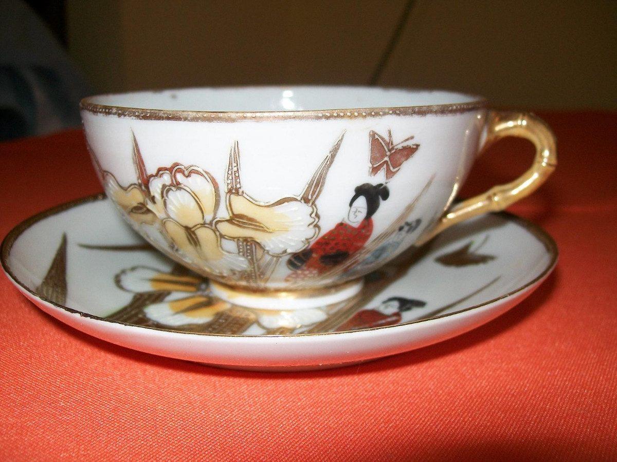 Hermoso juego plato y taza en porcelana china pintada a for Platos porcelana
