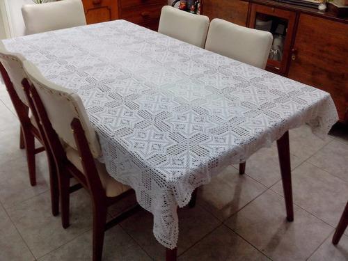 hermoso mantel elaborado en técnica crochet mesa de 6 puesto