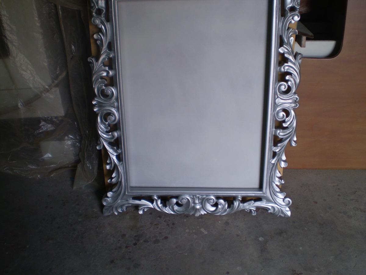 Hermoso Marco De Espejo En Madera Plateado Brillante Bs 1800
