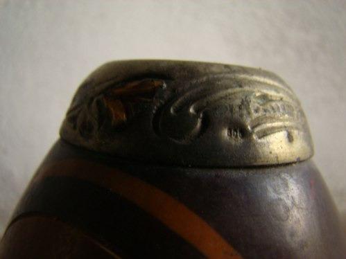 hermoso mate calabaza. borde sup en plata y detalles oro