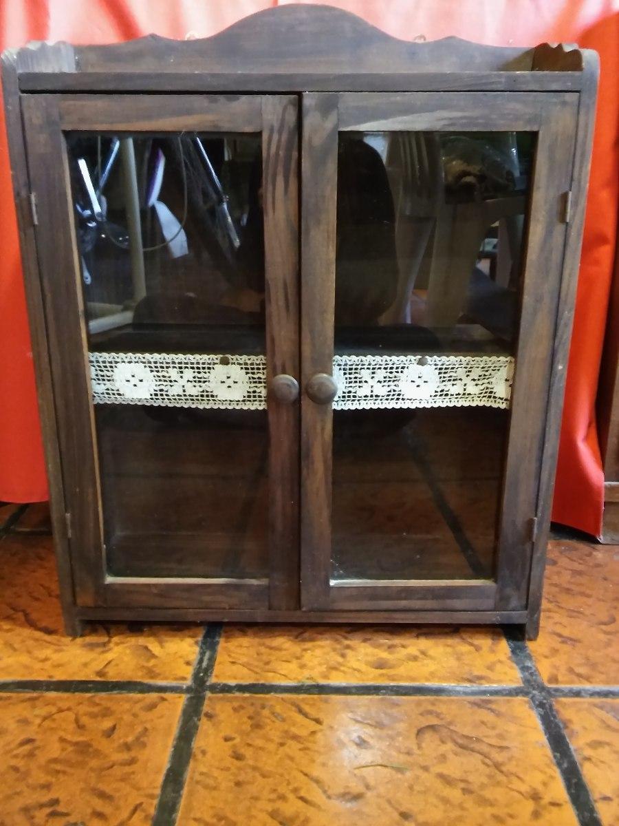 Hermoso Mueble Country De Madera Con 2 Puertas De Vidrio 660  # Muebles Country De Madera