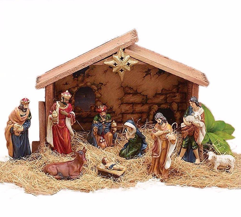 Fotos Del Nacimiento De Navidad.Hermoso Nacimiento Navidad Adorno Con 9 Figuras