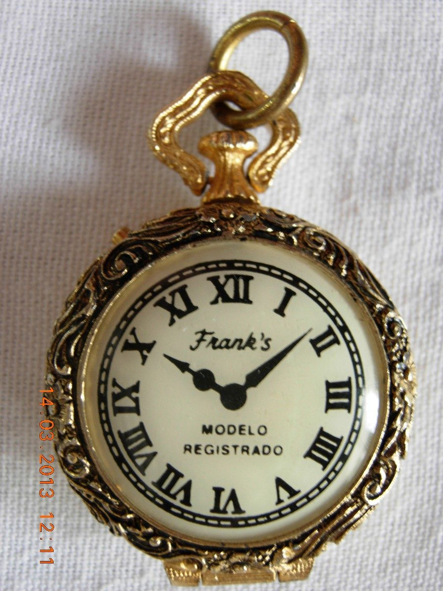 hermoso original pastillero antiguo tipo reloj de bolsillo