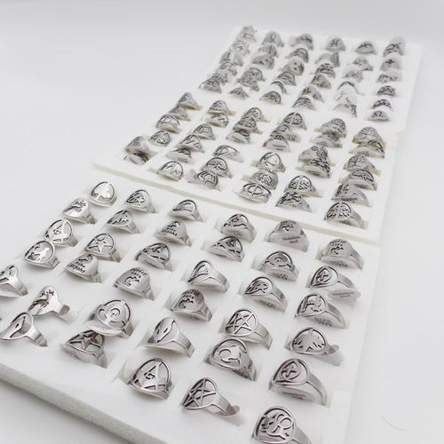 hermoso pack de 12 anillos formas caladas acero quirurgico por mayor