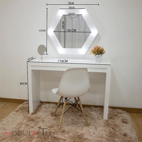 hermoso peinador con espejo iluminado + repisas