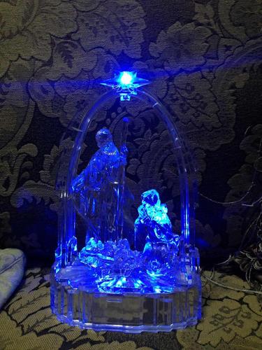 hermoso pesebre nacimento de acrílico con iluminación