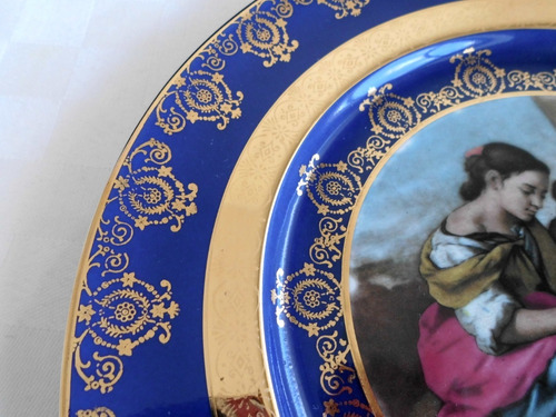 hermoso plato de porcelana alemana gloria bayreuth. azul oro