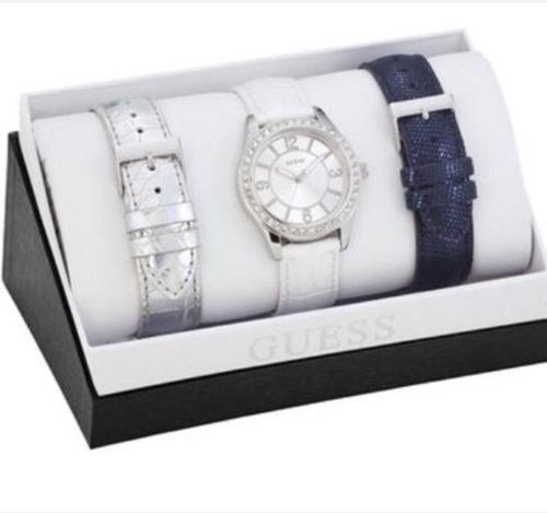 hermoso reloj guess, 3 correas de cuero certificado garantia