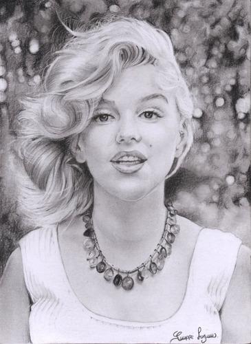 hermoso retrato realista de marilyn monroe hecho a lapiz