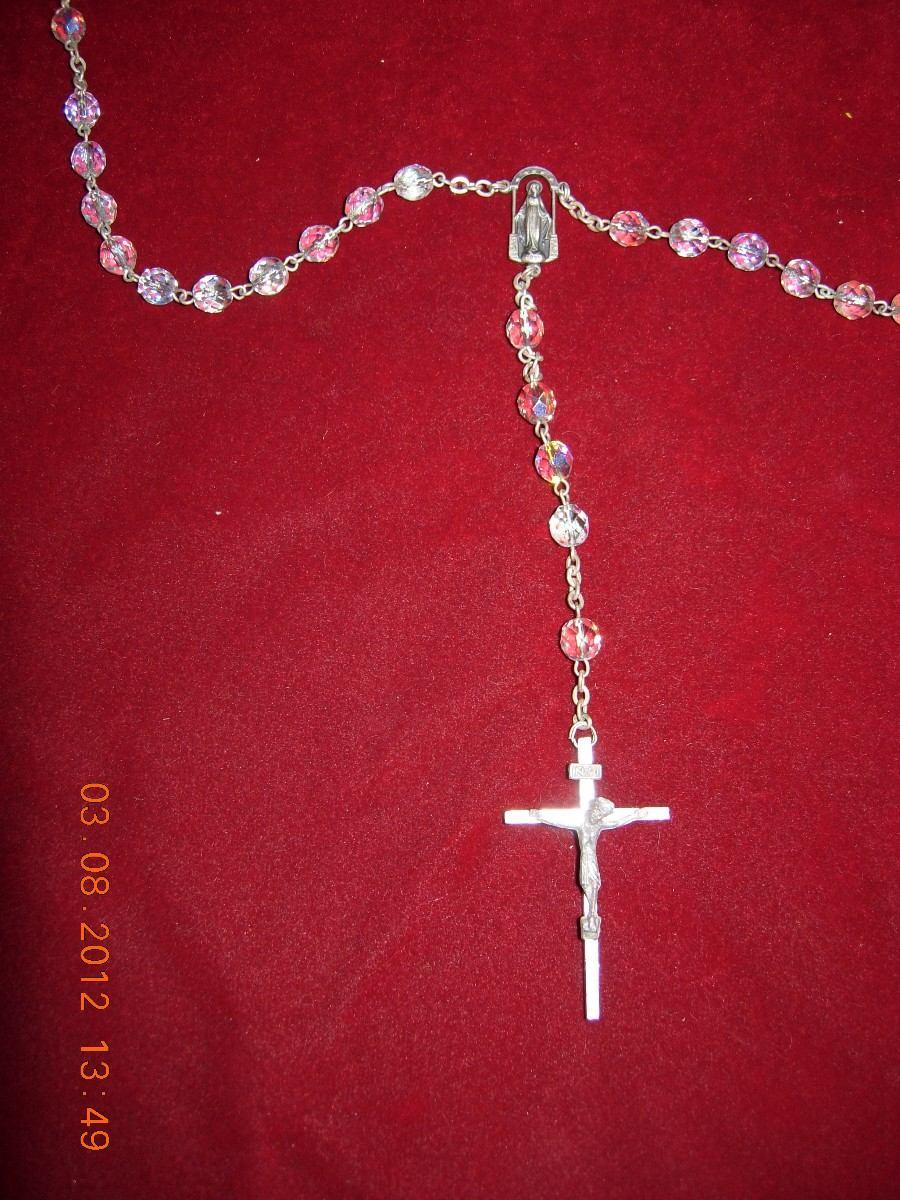 hermoso rosario antiguo de cristal de roca de colores