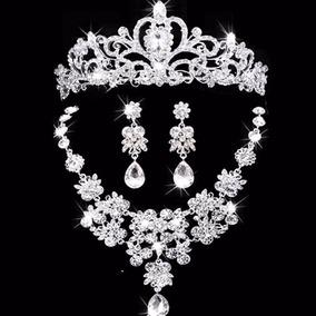 4691e4965732 Hermoso Set De Corona,collar Y Pendientes,novia Y Quinceñera