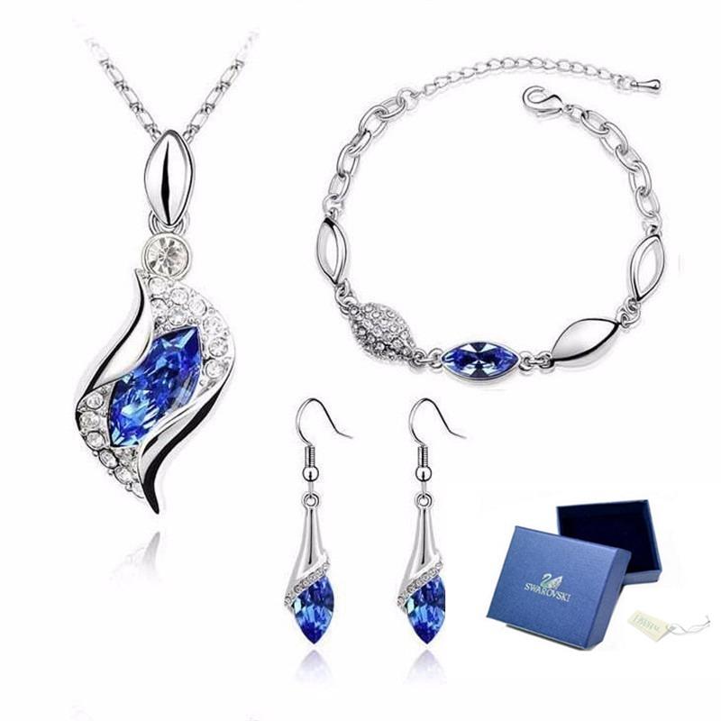 1608aa9193cb hermoso set swarovski elemen collar dije aretes pulsera azul. Cargando zoom.