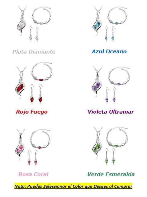 0f52c92d3156 Hermoso Set Swarovski Plata Collar Dije Aretes Pulsera Amor ...
