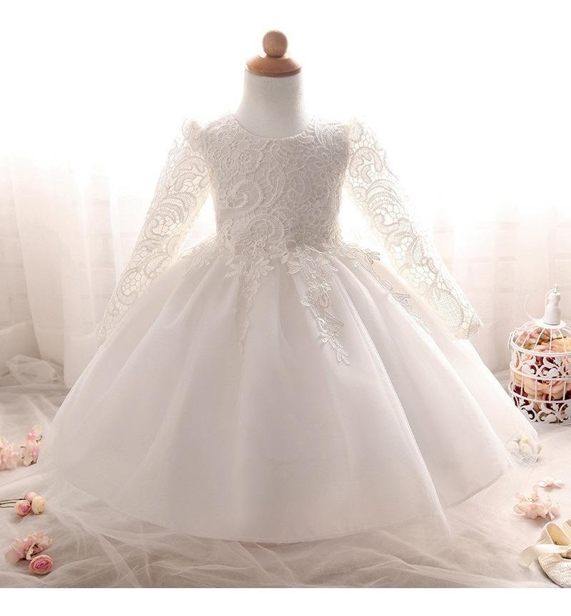 mejor mayorista mejor amado diseños atractivos Hermoso Vestido Blanco Bautizo Tutú Princesa Cumpleaños Envi
