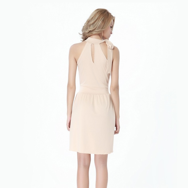 Hermoso Vestido Corto Cuello Halter - Color Beige -   849 6274f22dfd9c