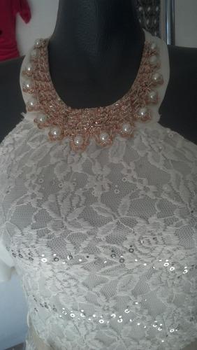 hermoso vestido de encaje y lentejuelas para dama