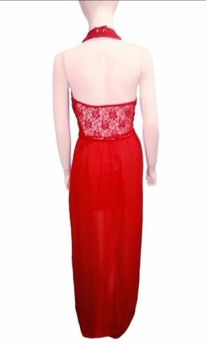 hermoso vestido de fiesta cuello alto tajo de encaje y gasa!