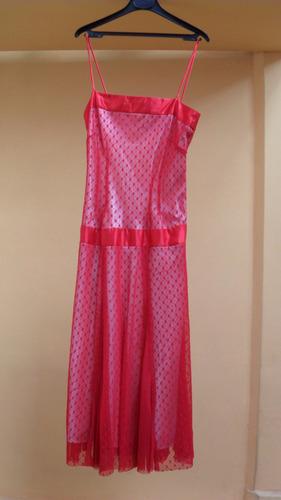 hermoso vestido de fiesta de tul plumeti con breteles de ras