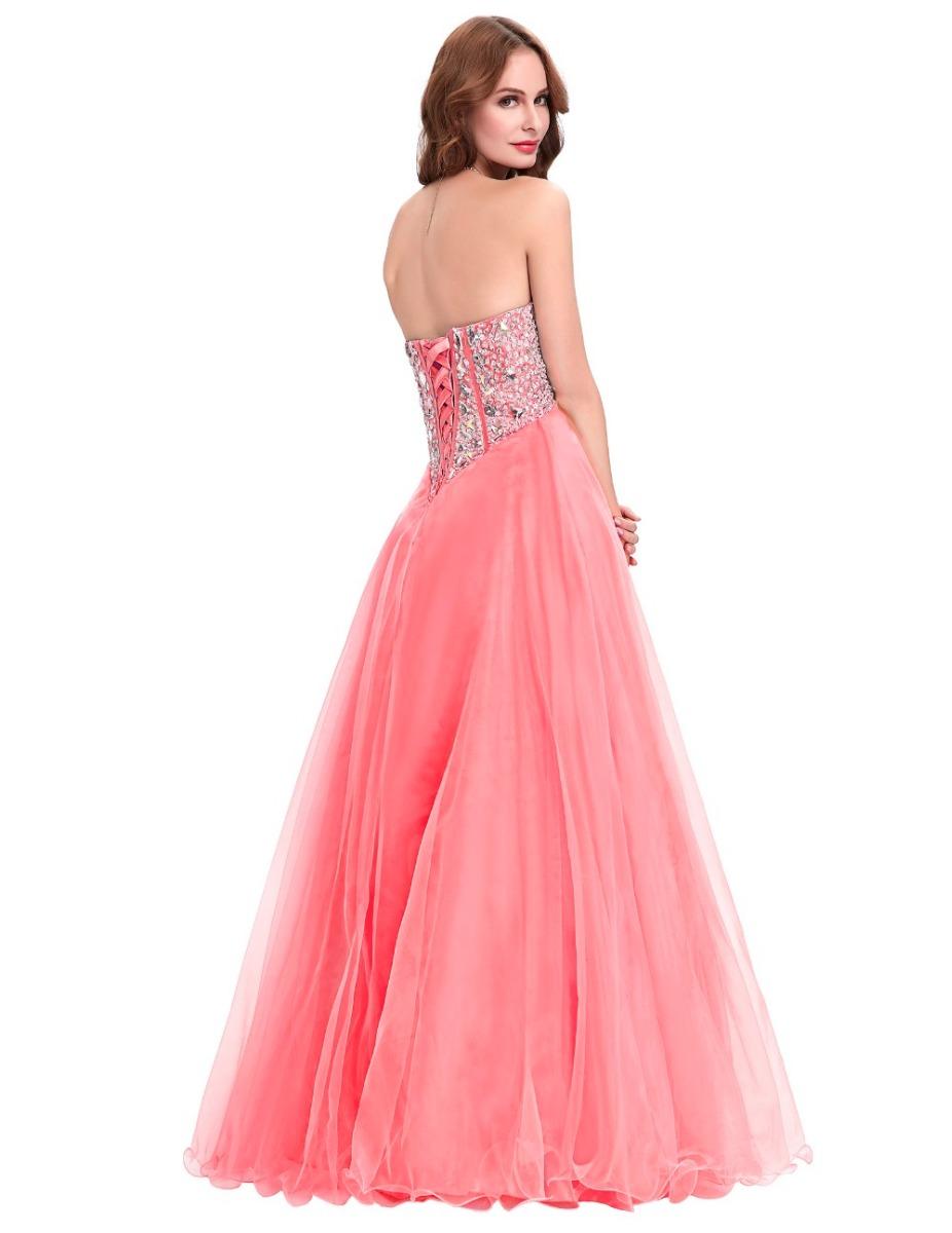 Hermoso Vestido De Fiesta Noche Coral Mediano Envío Gratis ...